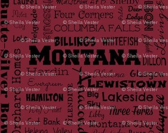 Montana Cities fabric - Fat Quarter - red/crimson and black - gray and black