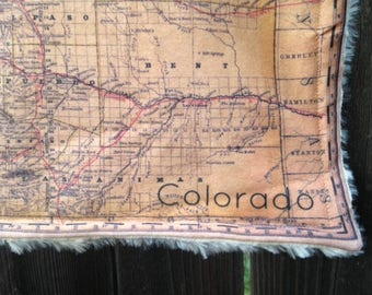 COLORADO map blanket - vintage map baby minky security blankie - small travel blanky, lovey, woobie - 10.5 by 16 inches
