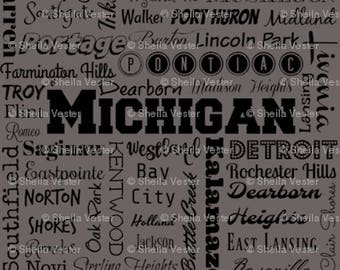 Michigan fabric - MI cities typography fat quarter - Michigan FQ - blue or gray