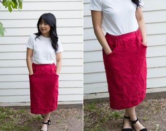 FLAX High Waisted Red Linen Midi Skirt
