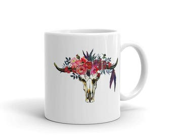 Mug | Cup | Coffee Mug | Coffee Cup | Longhorn | Flower Crown | Coffee | Tea | Gift for Her | Custom Coffee Mug | Bohemian Print