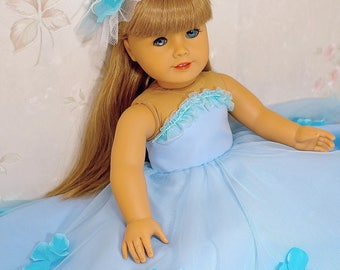 "flower princess dress (sky blue) with hairpin fits American Girl Doll 18"", American Girl Doll clothes, ball gown"