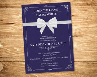 Navy Wedding Invitation Printable Classic Invite PDF Template Download