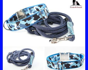 "Set: dog collar ""Camouflage, blue"" with matching Tauleine, collar, leash"