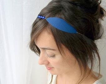 Leaf headband, leaf headpiece, blue headband, leather headband, wedding headband, bridesmaid headpiece, wedding headpiece, blue headpiece