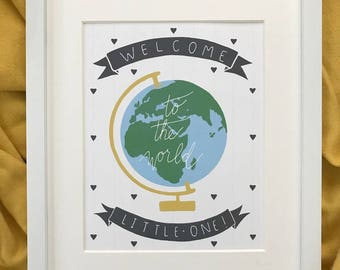 Nursery print for baby, Welcome to the world, Nursery wall art, Baby print in English or Spanish, Hand-lettered and hand-drawn baby print