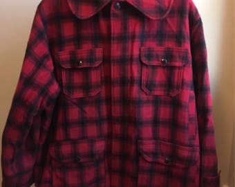 Vintage L.L. Bean buffalo plaid/cruiser wool coat! Size large/extra large.