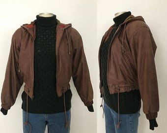 Cropped leather jacket / leather jacket xs / bomber leather jacket / hooded leather jacket / 90s leather jacket / brown jacket women