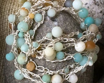 adjustable Amazonite and linen necklace/bracelet (4+ ways to wear!)