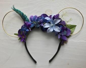 World Of Avatar Mouse Ears, Pandora Floral Mickey Ears, Animal Kingdom Minnie Ears
