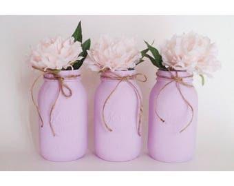 Lilac Mason Jars, Lilac Centerpieces, Lilac Babyshower Decor
