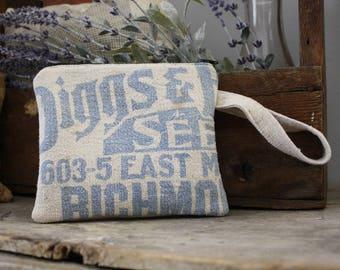 Vintage Seed Sack Wristlet | Upcycled | Repurposed | Feedsack Pouch | Grain Sack