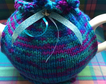 Hand knitted tea cosy teapot cover
