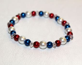 Patriotic Beaded Stretch Bracelet in red, white and Blue
