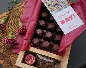 Large Gourment Artisan Chocolate + coffee or tea + artisan truffle + Art Gift Box