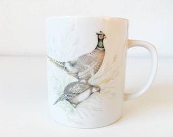Vintage Ring Necked Pheasants Ceramic Mug + Nature Animal Illustration + Natural Coffee Cup + Game Birds Hunting