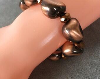 Copper bracelet elastic, beaded bracelet. brown bracelet