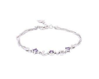 Silver and Purple Love zircon bracelet