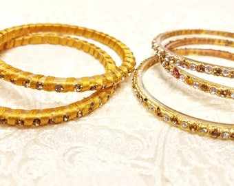 Gold colored bangles rhinestone bangles crystal bangles India gifts for her