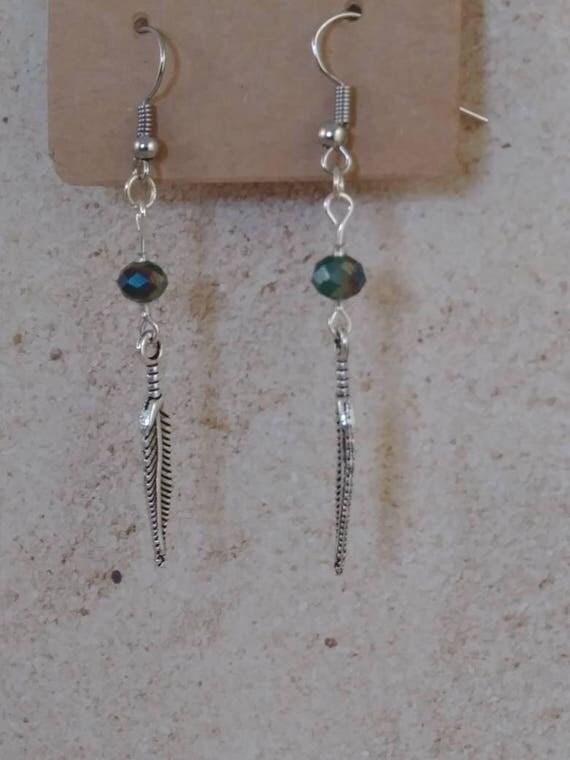 Feather earrings, Jewelry,  Earrings , gift earrings,  silver earrings , girls earrings,  earrings silver,  simple earrings,  feather,