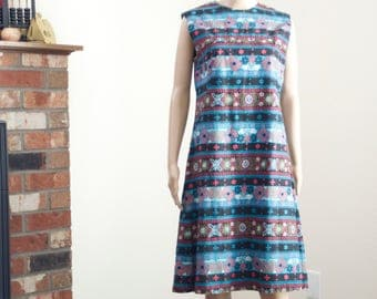 vintage 60s shift dress / apple print mandala print dress / 60s A-line folk print dress M L