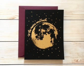 Moon Card | Anniversary Card Valentine's Day Card To the Moon and Back rose gold foil card for boyfriend card for girlfriend husband wife