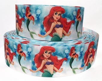 "Grosgrain Ribbon 1.5"" Little Mermaid Ariel Bubbles A7 USA SELLER"
