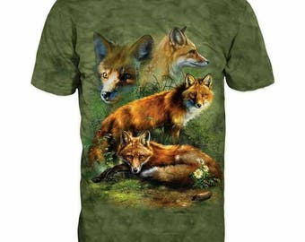 New ultramodern 3D  High Quality  Print Fox Mens  short Sleeve Green T-shirt