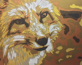 Fox, layered papercut tempate, commercial use, personal use, paper cutting tempate, paper cut.