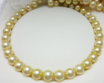 Golden South Sea Pearl Necklace, 12-14mm, Round shape.