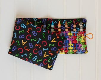 Crayon Roll up - Crayon Holder - Alphabet Puzzle Crayon Roll - Toddler Gift, Travel Toy, Birthday Party Gift