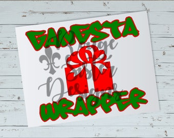 Gangsta Wrapper Christmas SVG PNG Files