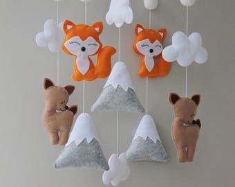 fox mobile deer mobile mountains mobile mobile baby baby mobile mobile bebe nursery mobile crib mobile felt mobile baby shower gift mobile