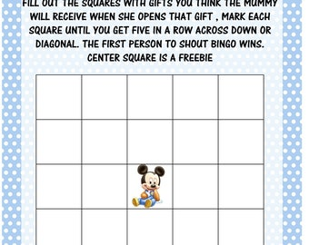 BABY SHOWER GAME Pack Instant Download /Mickey Mouse /printable's 4 games girls or boys /blues