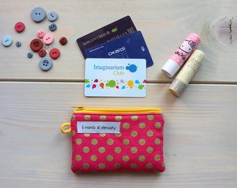 Gold weave/pink polka dot coin pouch
