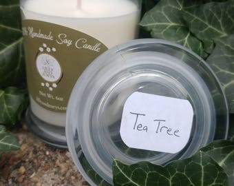 Tea Tree scented candles, Soy wax candles, 6oz candle, handmade candle, natural candles, soy candles handmade, hand poured candles, Tea Tree