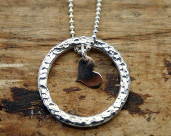 Sterling Silver Planished Pendant Two Piece with Gold Heart (YP005)