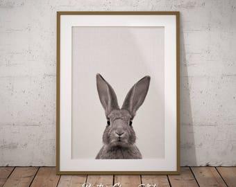 Woodland Nursery Rabbit, Rabbit Print, Woodland Bunny Wall Art, Woodland Rabbit Art Print, Printable Nursery Rabbit, Woodland Creatures Art