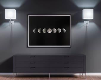 Moon Phase, Lunar Phase Print, Moon Phase Print, La Luna Print, Phases of the Moon, Moon Poster, Moon Phase Printable, Moon Cycle Wall Art