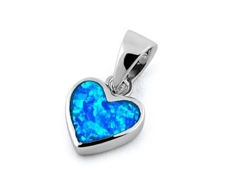 Sterling Silver Petite Heart Blue Opal Love Charm Pendant bridesmaid jewelry/bridal jewelry/birthday gift for her/love jewelry