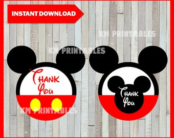 Printable Mickey Mouse Thank you Tags instant download, Mickey Mouse party Tags, Printable Mickey Mouse Gift Tags