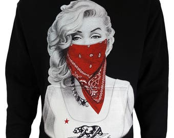 Marilyn Monroe Red Bandana Gangster w California Classic Design Graphic Hoodie