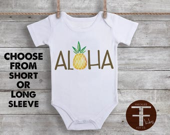 Aloha Onesie, Watercolor Pineapple, Hawaiian Onesie, Tropical Onesie, Take Home Outfit, For Boys, For Girls, Coming Home Outfit, Tropical