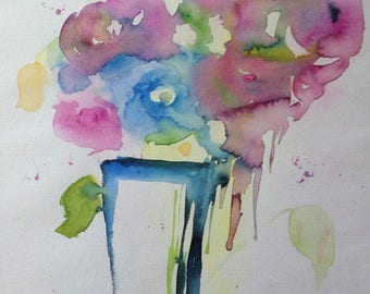 """Abstrackt Watercolour """"Flowers in the vase"""", 30 x 40 cm, flowers, unique, Watercolour Painting"""