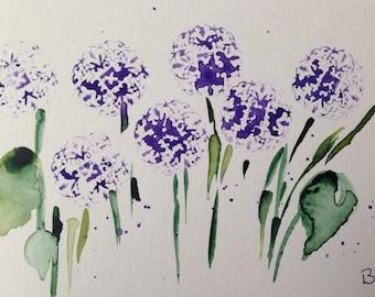 "Watercolour, watercolour postcard, flowers ""Wildflowers"" abstrackt, 14,8 x 10.6 cm, unique"
