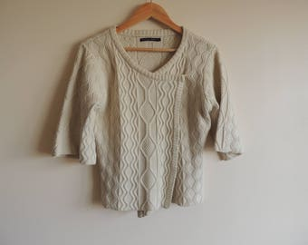 FREE SHIPPING - Gudrun SJODEN ivory silk and wool knitted short sleeve cardigan, size M