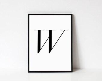 Scandinavian Printable Letter Print, Letter W, Black and White Typography Art