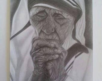 Mother Teresa praying, original pencil drawing