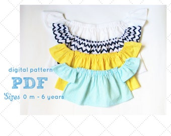 Baby Top Sewing Pattern, Flutter Top Pattern, Off the Shoulder Top pattern for babies, Girls Top Pattern, Crop Top pattern