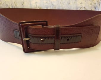 Geniune Leather / Dark Red Wine / Wide / Sportscraft Belt / Size Medium